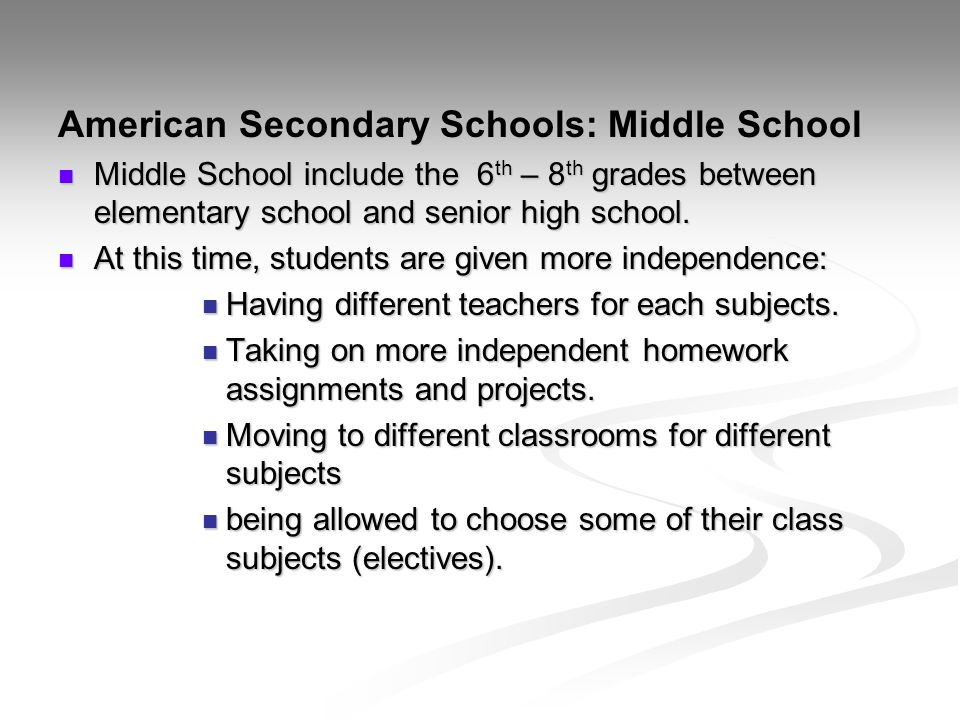 American Secondary Schools: Middle School