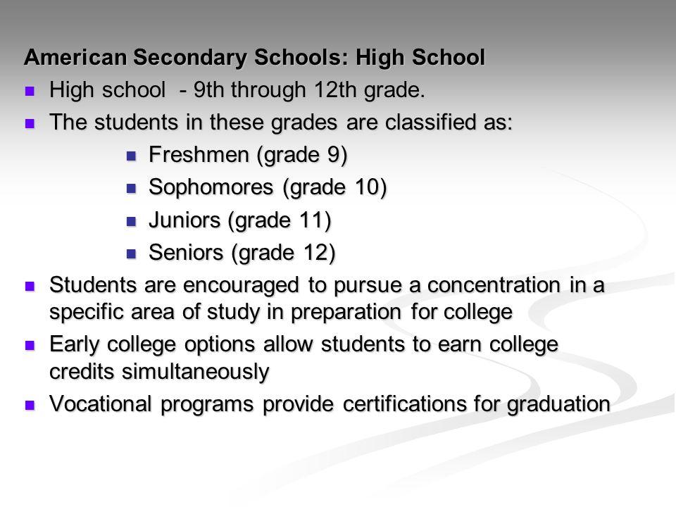 American Secondary Schools: High School
