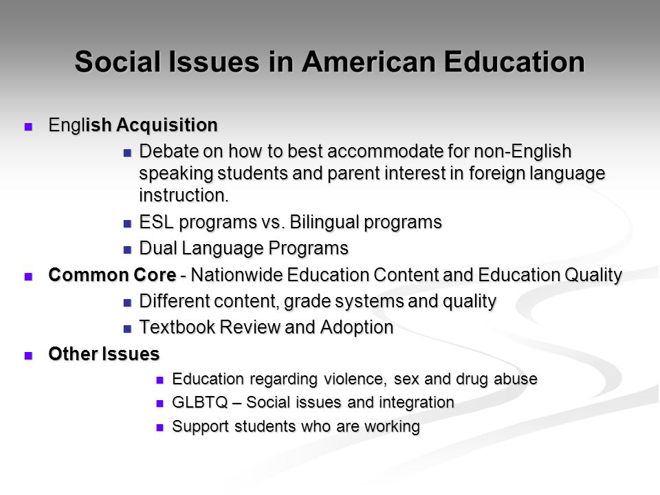 Social Issues in American Education