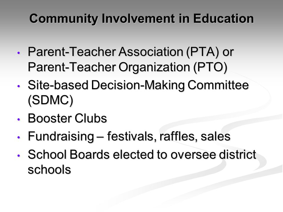 Community Involvement in Education