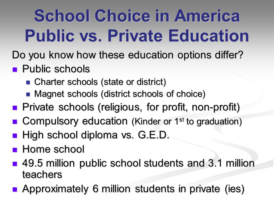 an overview of the realities of school choice in public education The no child left behind act provides new education options for many families this federal law allows parents to choose other public schools or take advantage of free tutoring if their child attends a school that needs improvement.