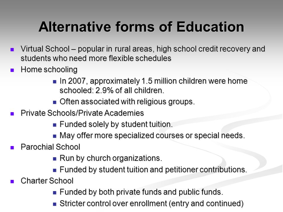 Alternative forms of Education