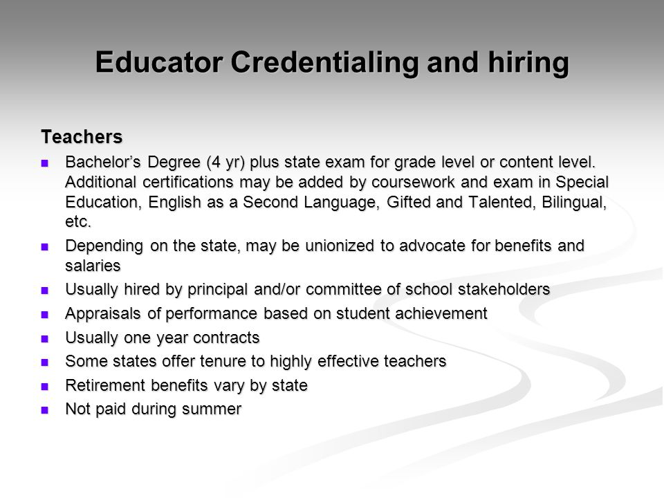 Educator Credentialing and hiring