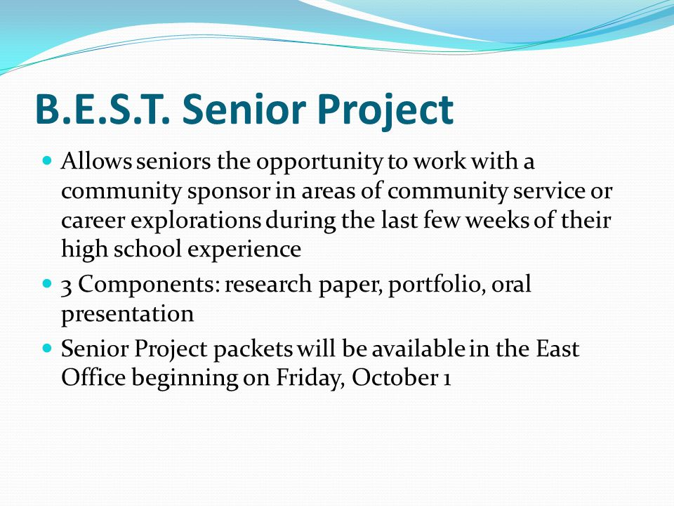 high school senior project research paper Vocational technical high school rests on the students' components of the senior project must be school appropriate and conform to the student handbook project paper will: • emanate from research sources, both primary and secondary • include an outline • conform to mla standards • appear in a standard word.