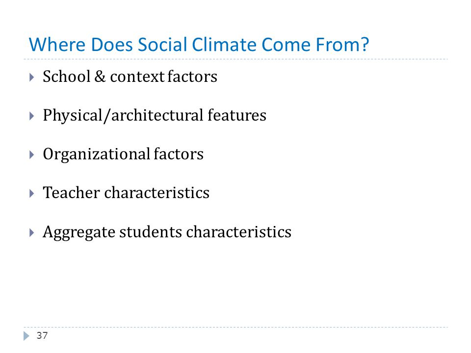 Where Does Social Climate Come From