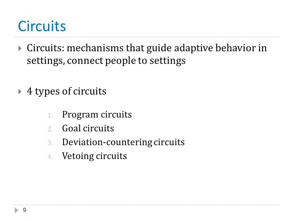 Circuits Circuits: mechanisms that guide adaptive behavior in settings, connect people to settings.