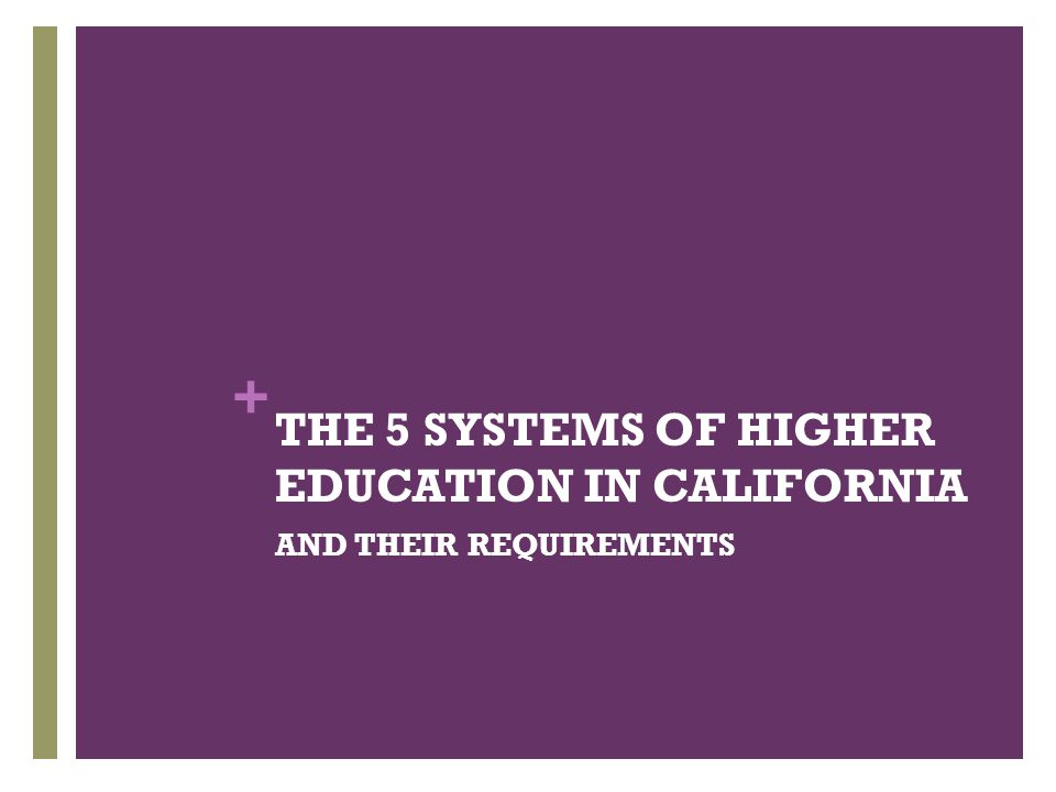 THE 5 SYSTEMS OF HIGHER EDUCATION IN CALIFORNIA