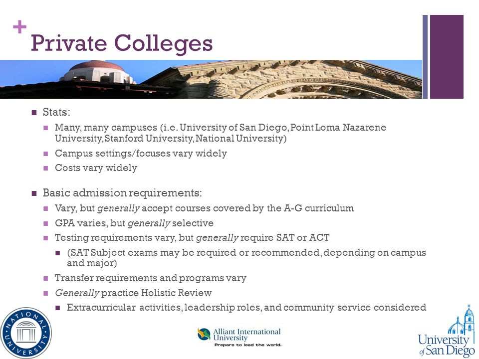 Private Colleges Stats: Basic admission requirements: