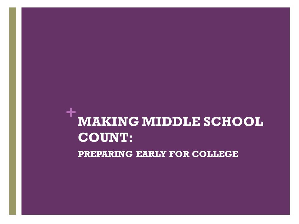 MAKING MIDDLE SCHOOL COUNT: