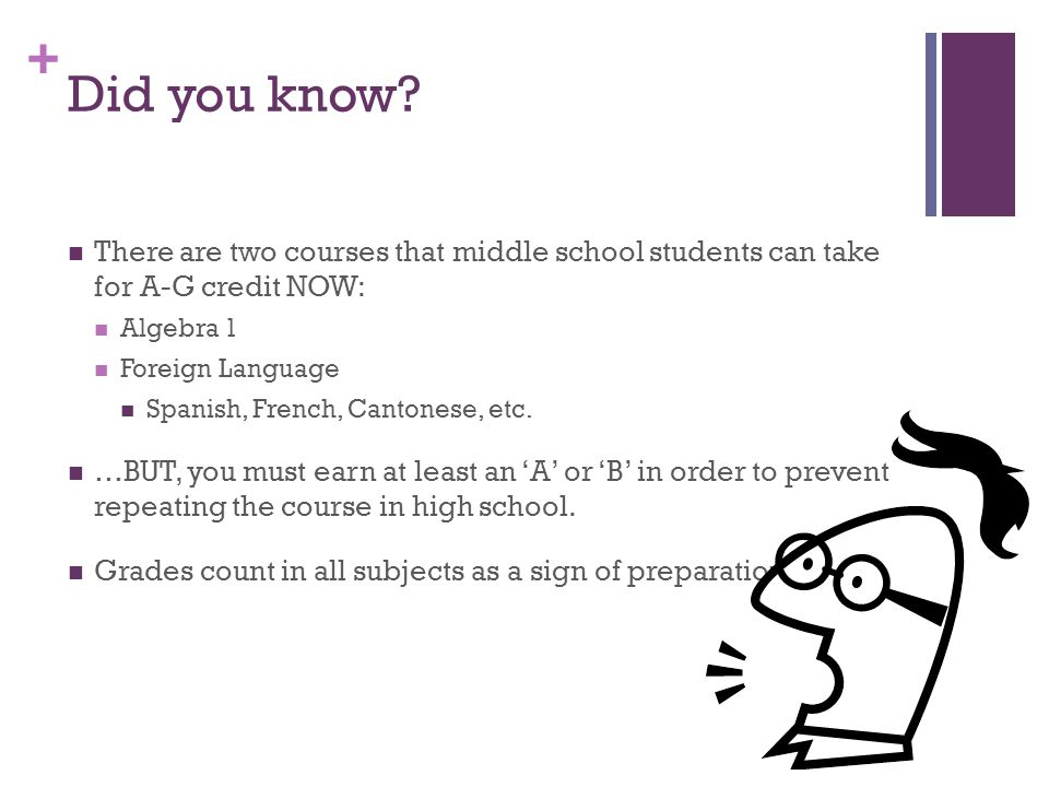 Did you know There are two courses that middle school students can take for A-G credit NOW: Algebra 1.