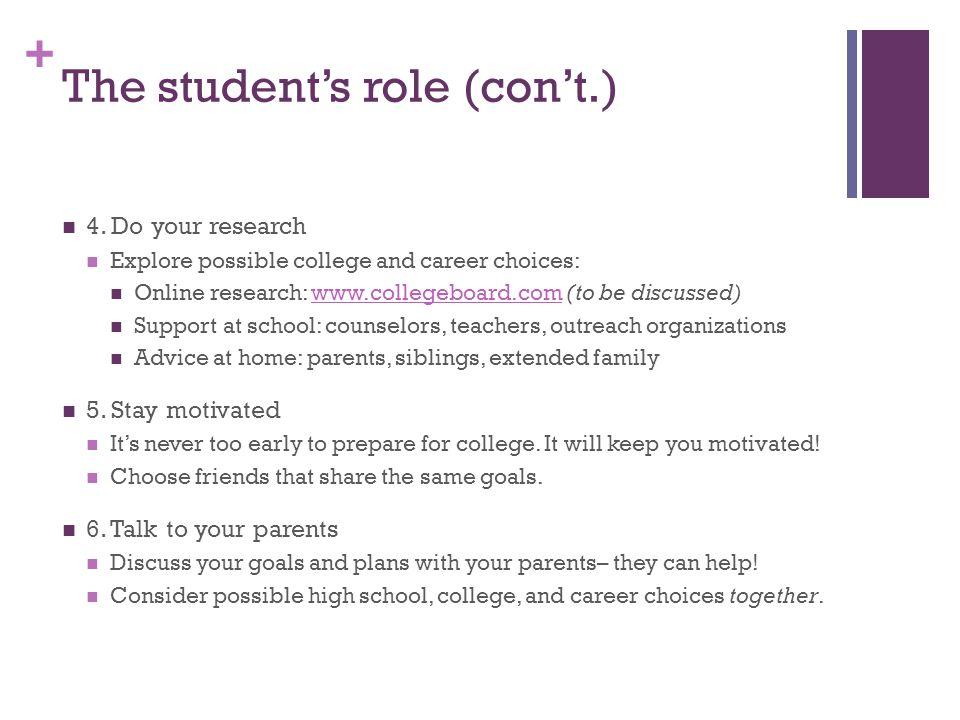 The student's role (con't.)