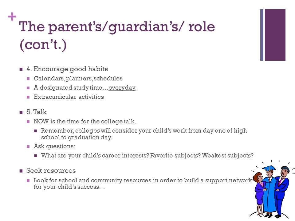 The parent's/guardian's/ role (con't.)