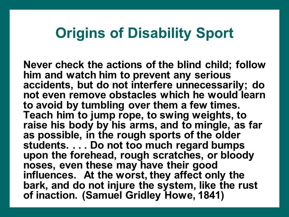 Origins of Disability Sport