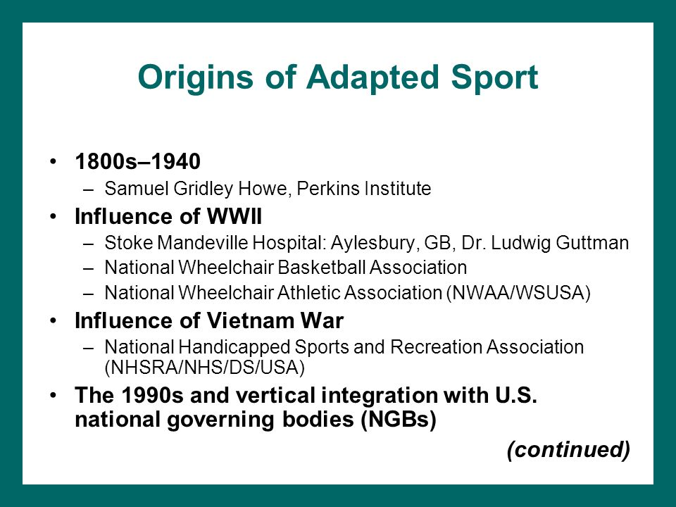 Origins of Adapted Sport