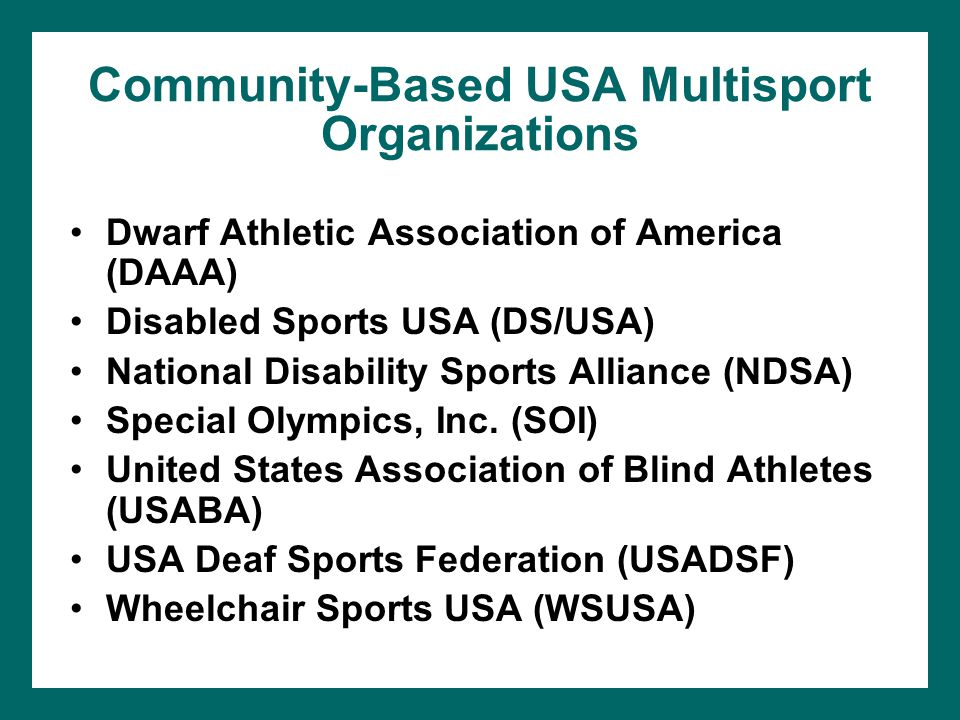Community-Based USA Multisport Organizations