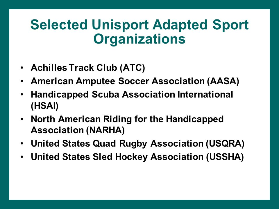 Selected Unisport Adapted Sport Organizations