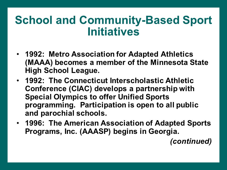 School and Community-Based Sport Initiatives