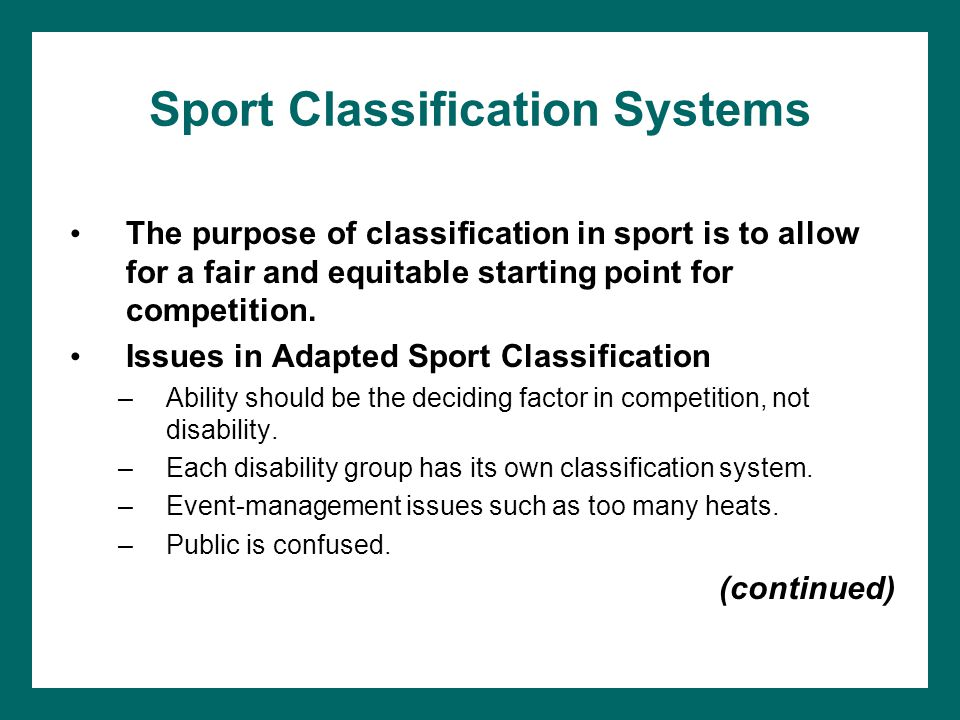 Sport Classification Systems