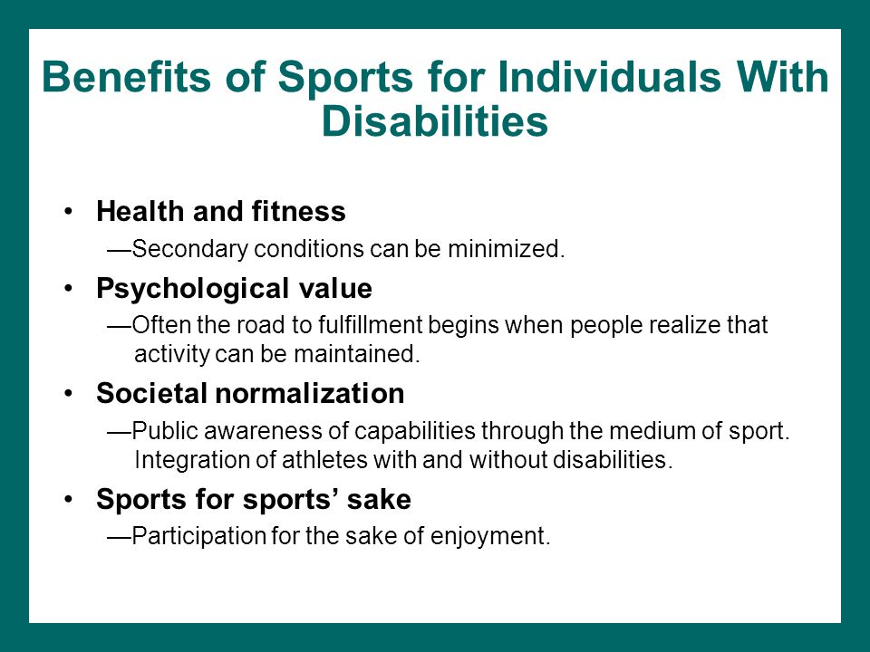 Benefits of Sports for Individuals With Disabilities