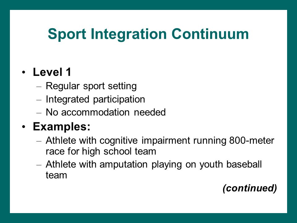Sport Integration Continuum