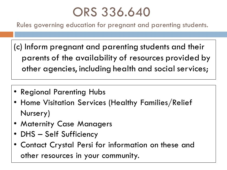 ORS 336.640 Rules governing education for pregnant and parenting students.