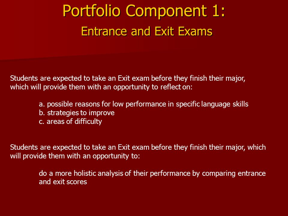 Portfolio Component 1: Entrance and Exit Exams