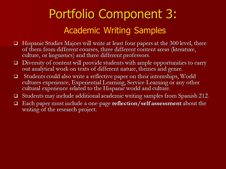 Portfolio Component 3: Academic Writing Samples