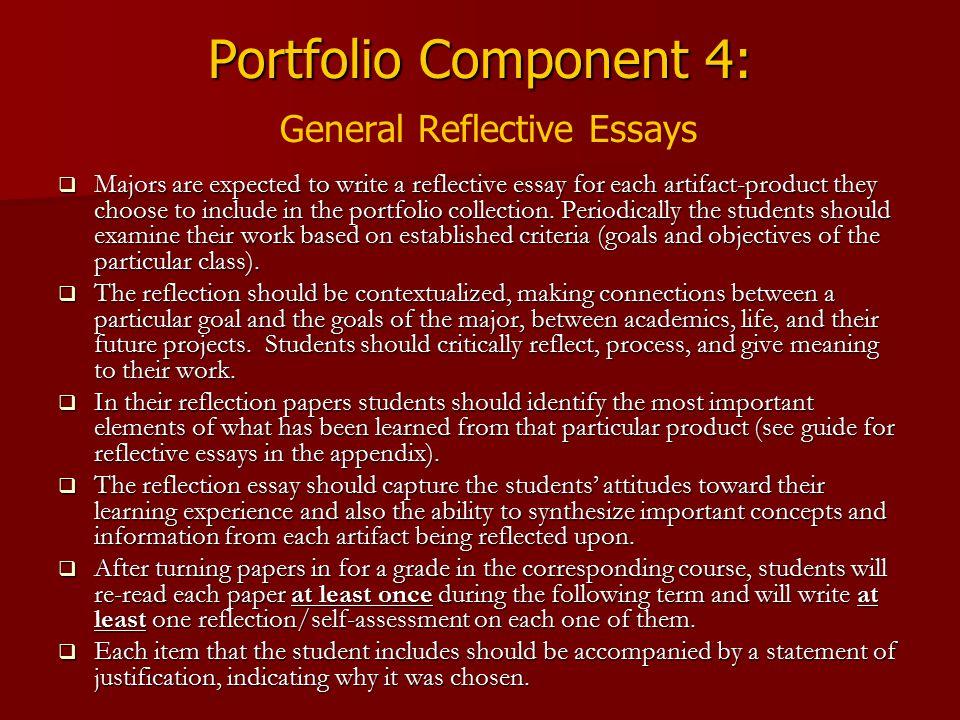 Portfolio Component 4: General Reflective Essays