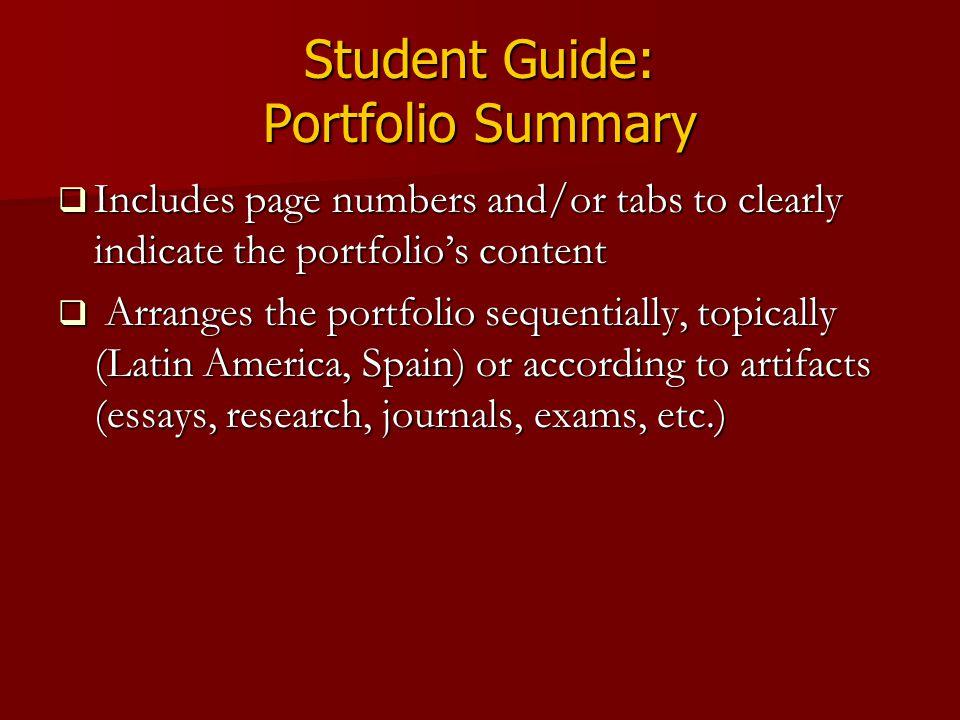 Student Guide: Portfolio Summary