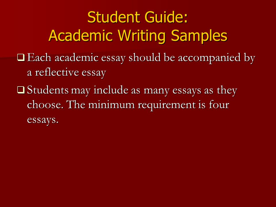 Student Guide: Academic Writing Samples