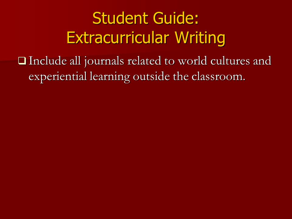 Student Guide: Extracurricular Writing