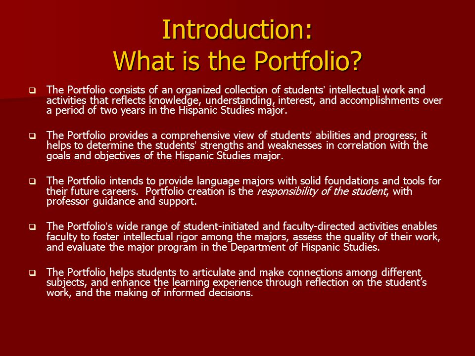 Introduction: What is the Portfolio