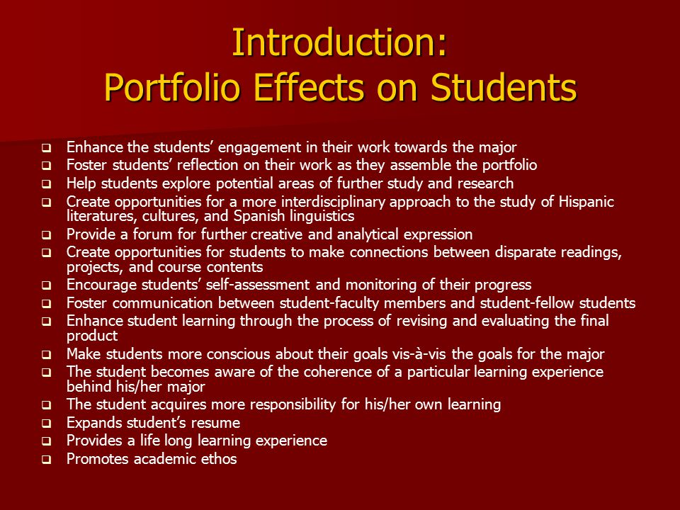 Introduction: Portfolio Effects on Students