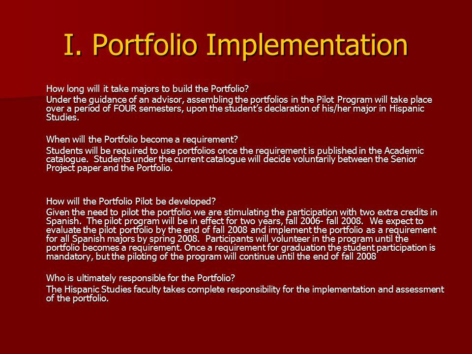 I. Portfolio Implementation