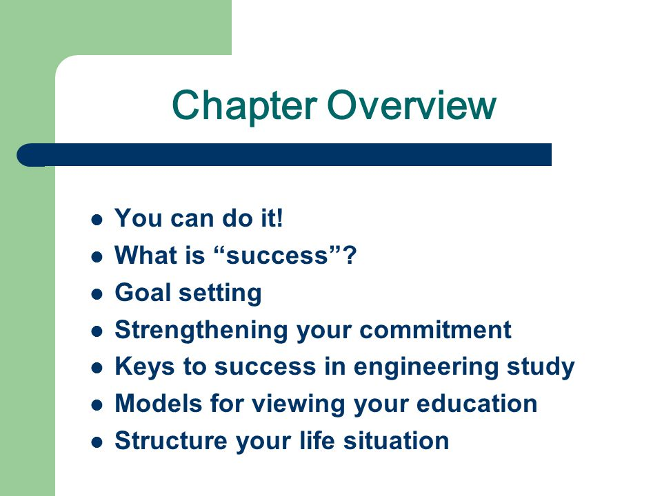 Chapter Overview You can do it! What is success Goal setting
