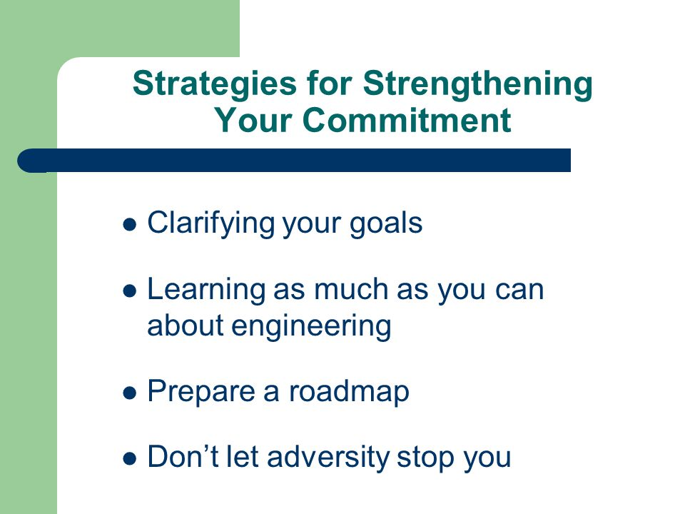 Strategies for Strengthening Your Commitment