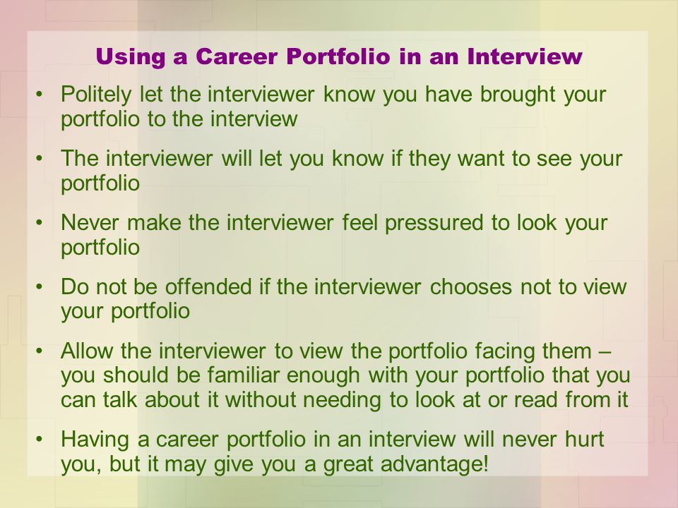 Using a Career Portfolio in an Interview
