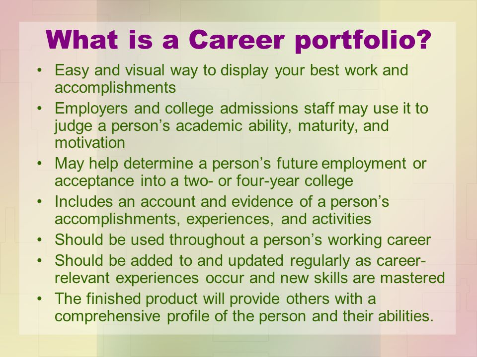 What is a Career portfolio