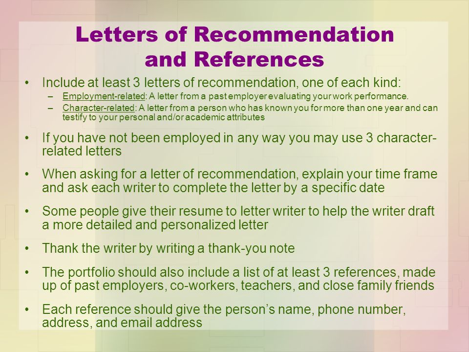Letters of Recommendation and References