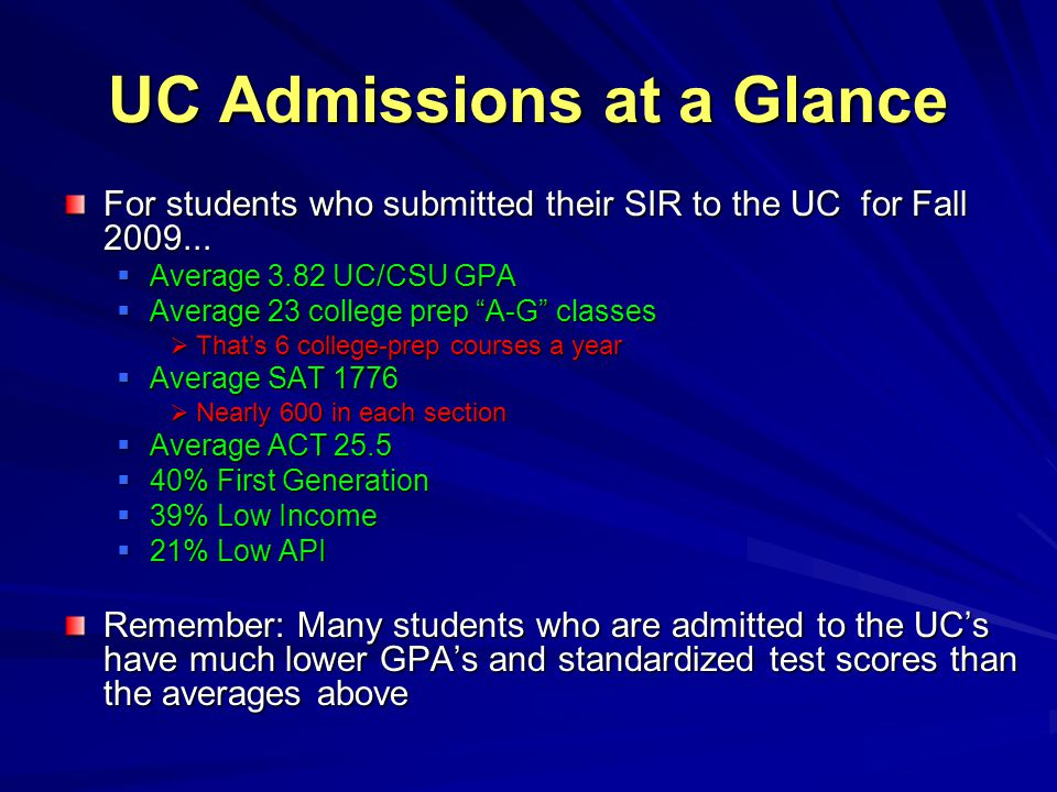 UC Admissions at a Glance