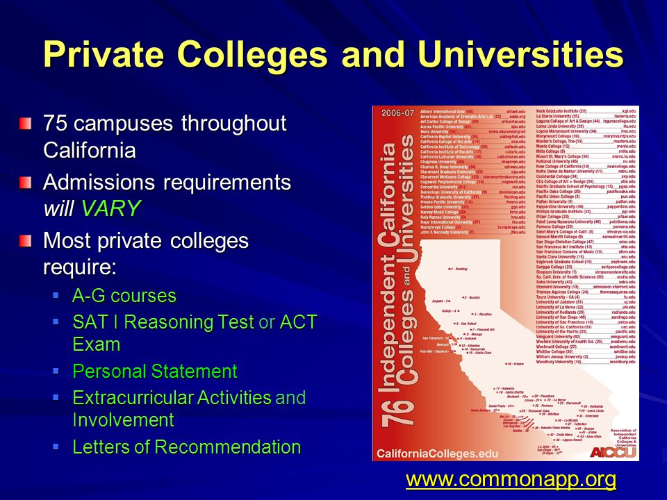 Private Colleges and Universities