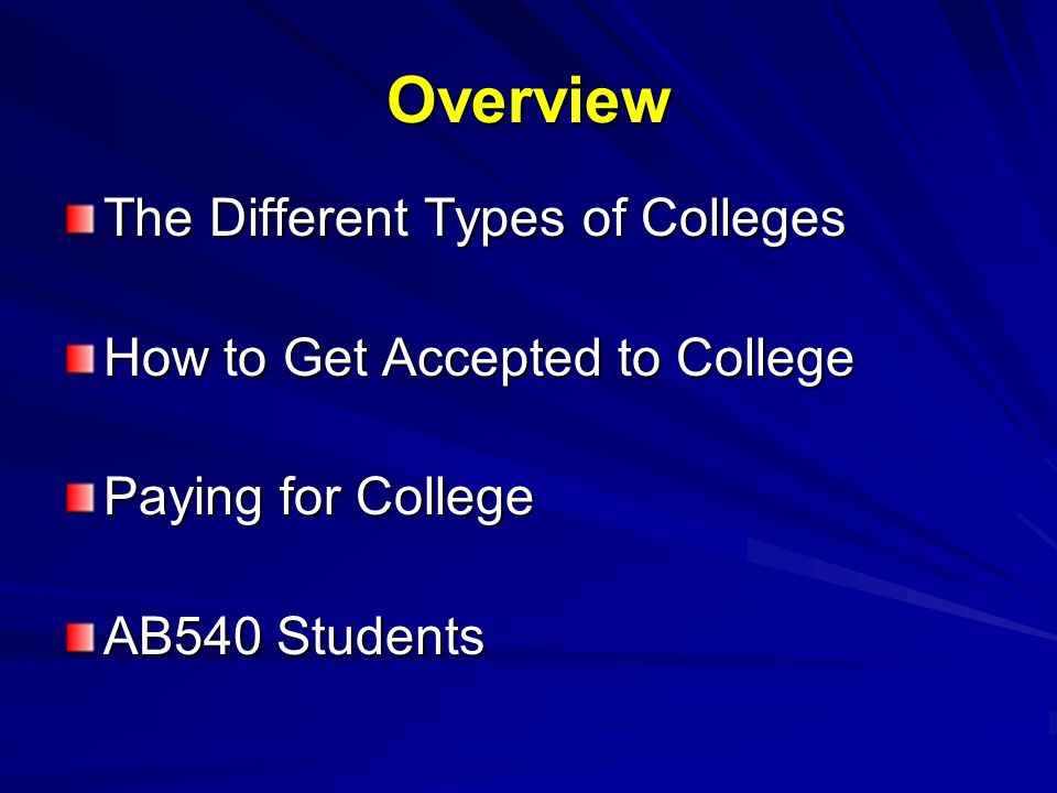 Overview The Different Types of Colleges