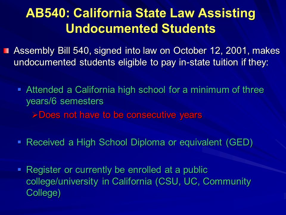 AB540: California State Law Assisting Undocumented Students