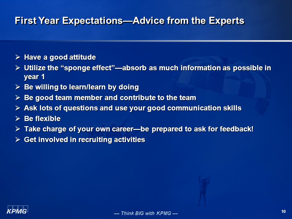 First Year Expectations—Advice from the Experts