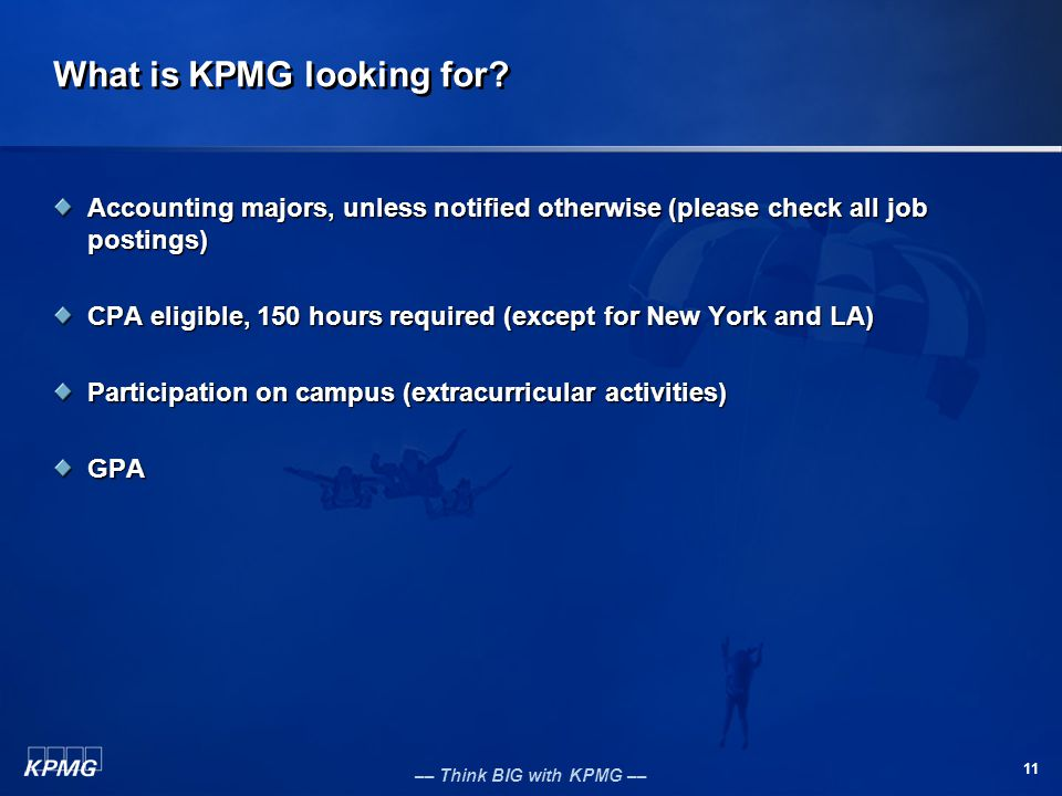 What is KPMG looking for