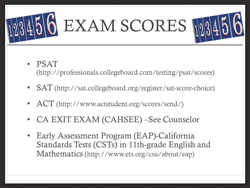EXAM SCORES PSAT (http://professionals.collegeboard.com/testing/psat/scores) SAT (http://sat.collegeboard.org/register/sat-score-choice)