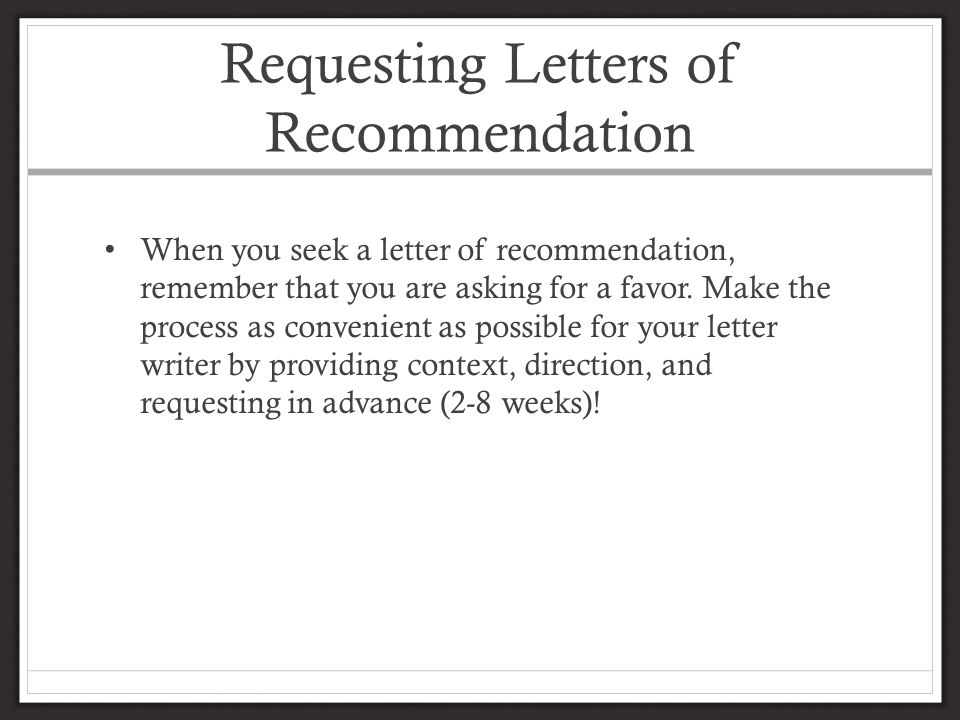 Requesting Letters of Recommendation