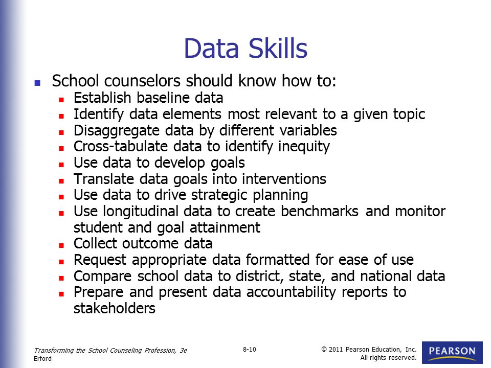 Data Skills School counselors should know how to: