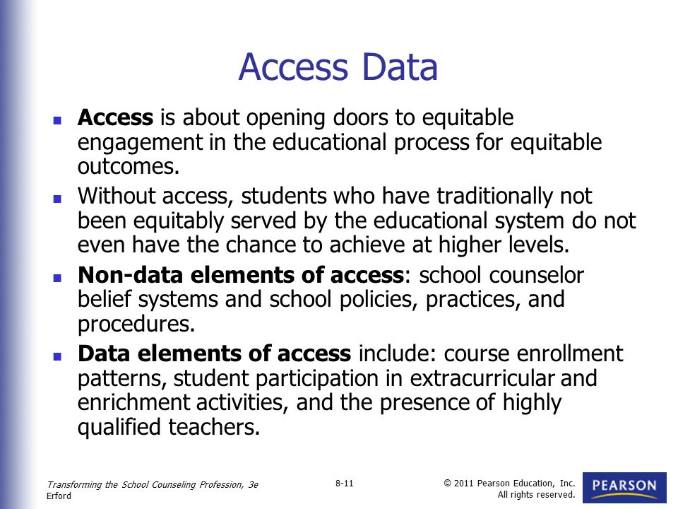 Access Data Access is about opening doors to equitable engagement in the educational process for equitable outcomes.