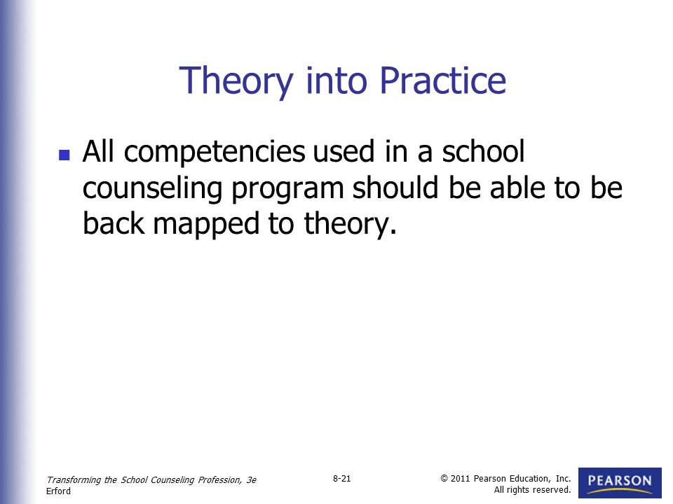 Theory into Practice All competencies used in a school counseling program should be able to be back mapped to theory.